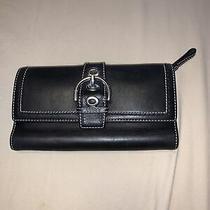 Coach Soho Leather Tri-Fold Long Wallet Buckle Black Photo