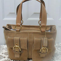 Coach Soho Light Brown Suede Tote With Front Double Pockets Photo