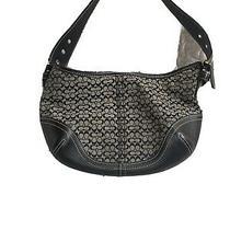 Coach Soho Mini Signature Hobo Bag Jacquard Canvas Black Leather Photo