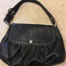 Coach Soho Pleated Flap Bag Handbag Purse in Black Leather F13729 Photo
