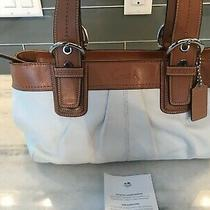 Coach Soho Pleated White and Luggage Leather Bag Purse Handbag Photo