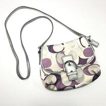 Coach Soho Scarf Print Small Buckle Crossbody Bag F45644 Purple & Gray Photo