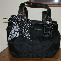 Coach Soho Shopper Black Signature Canvas Purse With Polka Dot Scarf Photo