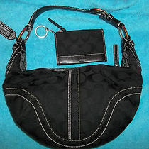 Coach Soho Signature Jacquard  Hobo Black Handbag 10073 With Key Ring Coin Purse Photo