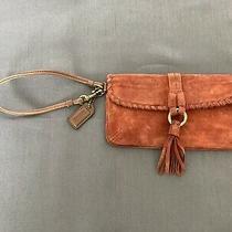 Coach Soho Suede Fringe Women's Skinny Clutch Wristlet Wallet - Brown Leather Photo