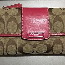 Coach Solid Signature Fabric/leather Trifold Checkbook Wallet Excellent Photo
