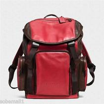 Coach Sport Leather Colorblock Red/mahogany Backpack F71508 Msrp 695.00 Photo
