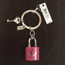 Coach Sprinkle C Lock & Key Fob Key Ring in Pink & Silver Tone 63985 Nwt  Photo