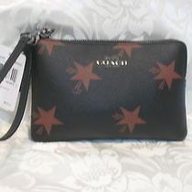 Coach Star Canyon Corner Zipper Black/brown Wristlet Box Gift Bag 64239  Nwt 75 Photo