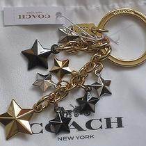 Coach Stars Charm Multi Mix Metal Key Fob Ring Keychain F63987 Nwt 70 Pouch    Photo