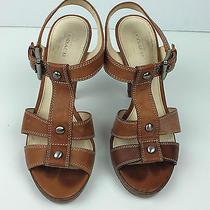 Coach Stefanie Stacked Wood Platform Sandal Strappy Tan Leather Size 7b Photo