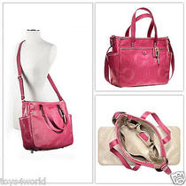 Coach Stitched Crimson Patent Leather Diaper /multifunction Tote 19911 Photo