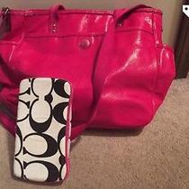 Coach Stitched Patent Leather Baby Diaper Tote Bag Photo