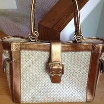 Coach Straw and Leather Tote in  Bronze Metallic  Awesome Photo
