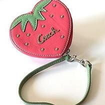 Coach Strawberry Novelty Coin Motif Embossed Purse Wristlet Wallet With Keychain Photo