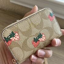 Coach Strawberry Zip Around Coin Case Photo