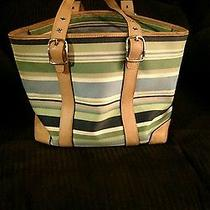 Coach Striped Blue Green Gray and White Handbag Satchel Tote M3j 7743  Photo