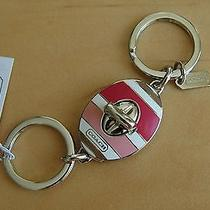 Coach Striped Pink Key Ring Fob Chain 62506 Photo