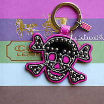 Coach Studded Leather Skull Black & Hot Pink Charm Key Chain Ring Fob  Dust Bag Photo