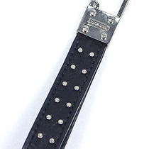 Coach Studded Loop Key Ring Fob Black Signature Leather New Photo