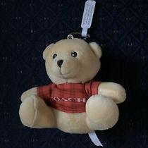 Coach Stuffed Teddy Bear Key Chain Bag Charm W/orange Plaid Logo Print Shirt New Photo