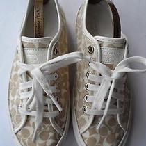 Coach Stunning Etta Canvas & Leather Sneakers-Size 6 Uk/39 eu/8.5 Us Excellent Photo