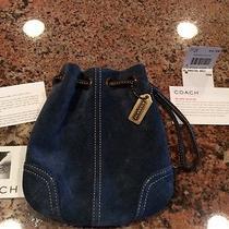 Coach Suede Drawstring Navy Blue Wrist Bag Photo