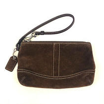 Coach Suede Leather Brown Travel Make Up Case Zip Close Key Fob Wristlet Photo