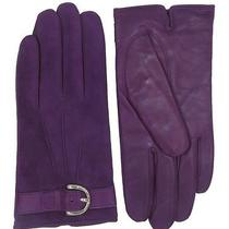 Coach Suede Leather Winter Gloves Amethyst Purple Wrist Glove for Women New Photo