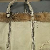 Coach Suede Rabbit Fur Tote Handbag Photo