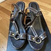 Coach Sydney Khaki Brown Signature Wedge Sandals Size 7 1/2 Photo