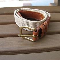 Coach Sz 30 Natural Linen Tan Brown Belt Solid Brass Buckle Photo