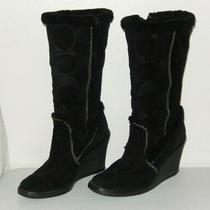 Coach Sz 6 Jordana Black Suede Logo Knee High Wedge Tall Side Zip Boots Photo