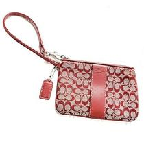 Coach Tan and Red C Logo Wristlet W/leather Strap Photo