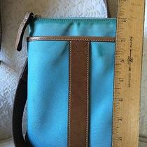 Coach Tan Brown Leather Blue Nylon Small Cross Body Purse Bag Turquoise Photo