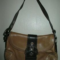 Coach Tan Brown Leather Shoulder Bag Purse W/ Buckle Clasp Authentic Medium Size Photo
