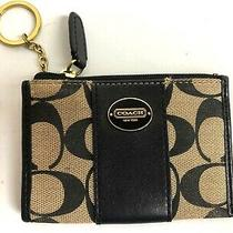 Coach Tan/brown Logo Monogram Keychain I.d. Credit Card Leather Wallet Coin Case Photo