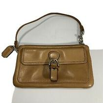Coach Tan Leather Wristlet-Front Snap Pocket-Silver Hardware-Detach Name Tag Photo