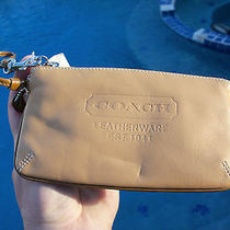 Coach Tan Leather Wristlet Wrist Bag/cosmetic Bag Photo
