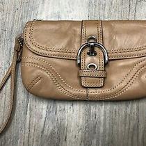 Coach Tan Leather Zip Phone Case Buckle Front Mini Wallet Wristlet Photo