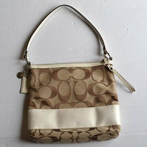 Coach Tan Signature C Canvas W/ White Stripe & Details F13674 Handbag Purse Bag Photo