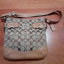Coach Tan Signature Design Mini Shoulder Bag With Leather and Buckle Accents Photo