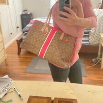 Coach Tan Signature Print & Pink Patent Leather Details - Extra Large Tote New Photo