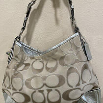 Coach Tan/ Silver Signature C Tote Shoulder Strap Bag Pink Lining Silver Accents Photo