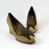 Coach Tan Suede Wedge Heel Shoe Skin Trim 8 Photo