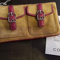 Coach Tan Suede With Pink Wristlet - Light Wear Photo