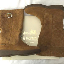Coach Tanesha Suede Boots 7m Camel Signature C Lined Snow After-Ski Wedge Nib Photo