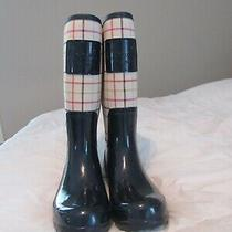 Coach Tattersall Rain Boots Size Ladies 7b Exc Navy Blue Multi Color Check Photo