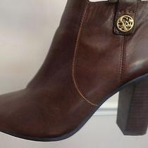 Coach Tavi Boots Brown Leather Ankle Booties Side Zipper High Heels 10 Fits 9.5 Photo