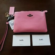 Coach Tea Rose Wristlet Bright Pink With Tea Rose Charm New Photo
